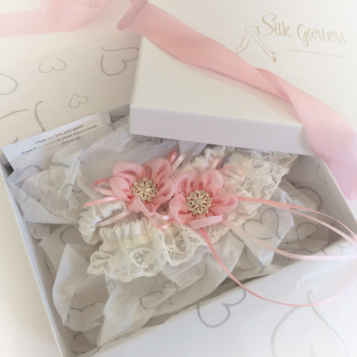 Personalised garter set, your text hidden inside
