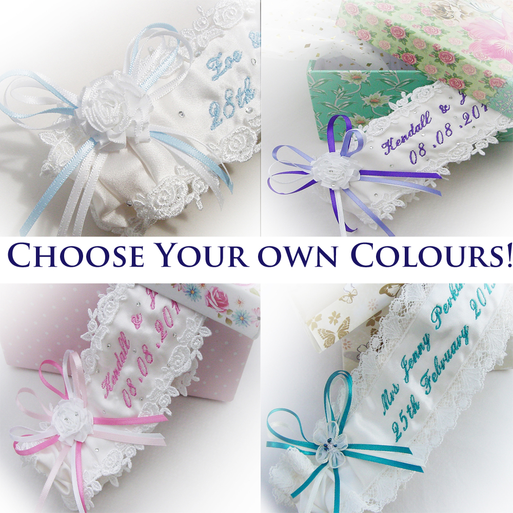Personalised Wedding Garters with an Elegant Script Text
