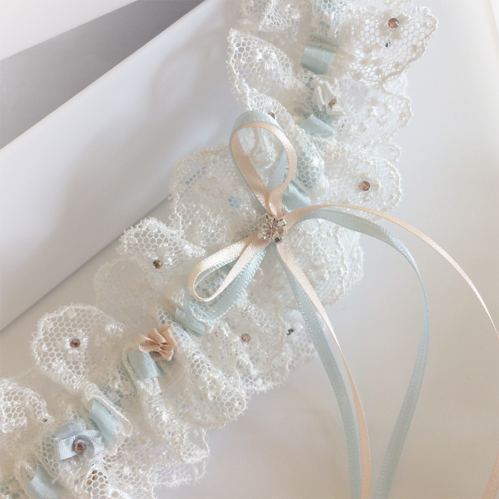 Meghan wedding garter close up