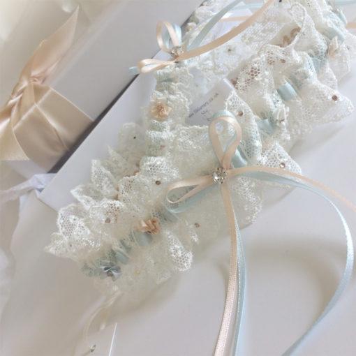 Meghan wedding garter set with Royal Nottingham lace