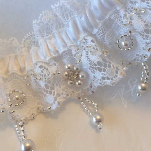 Unique hand embroidered wedding garter silk garters