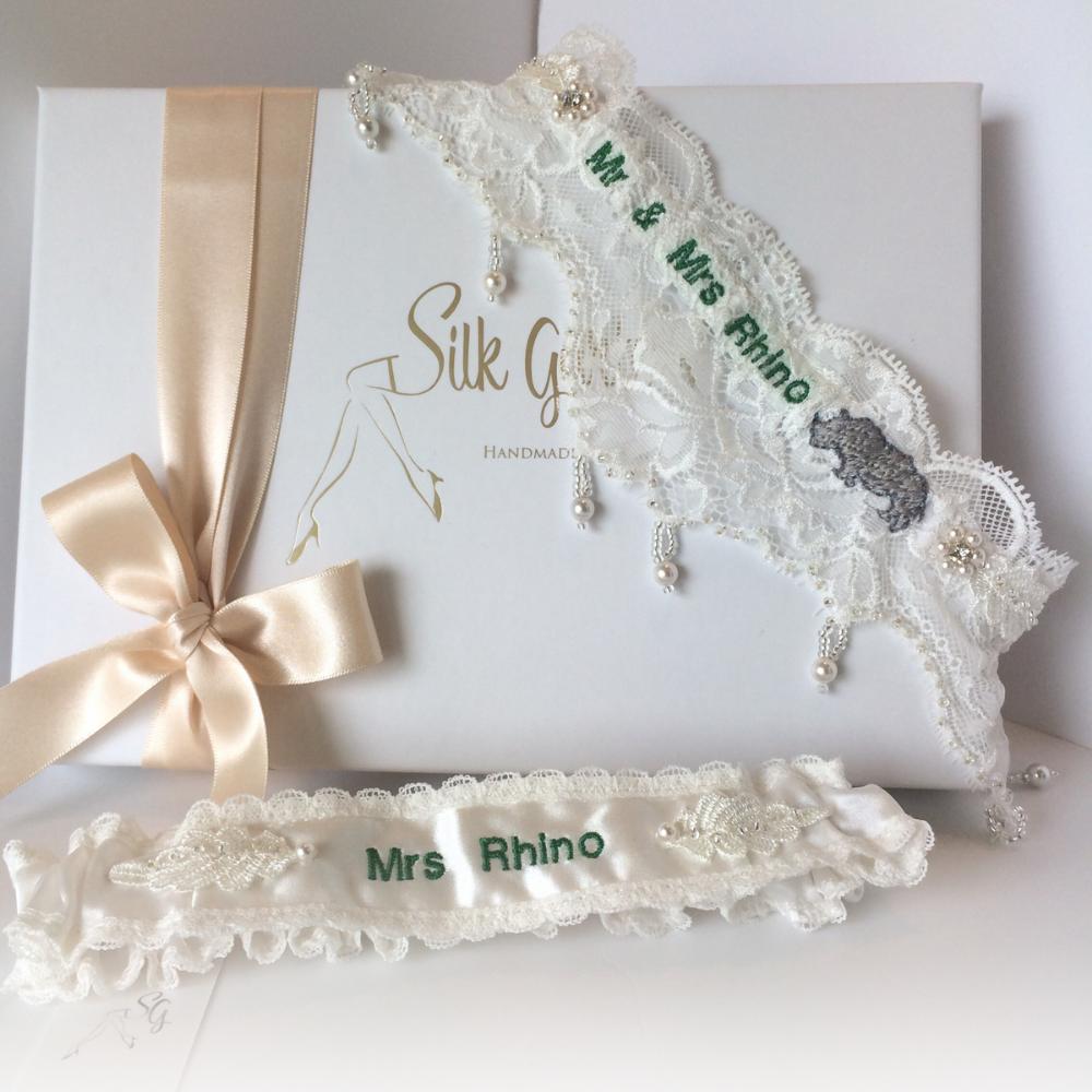 Unique Wedding Garter: Bespoke Wedding Garter With Hand Embroidery