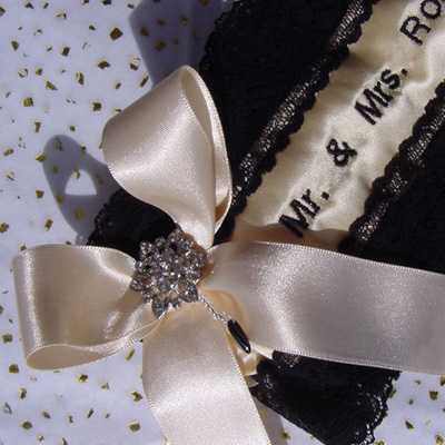 Designer Champagne Silk and Black Lace, Personalised Garter