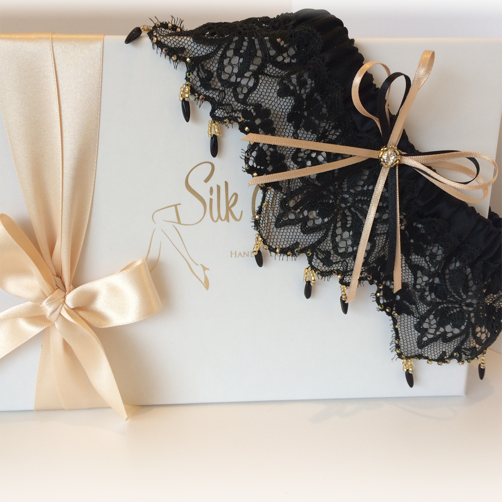 Black wedding garter beaded dream wedding