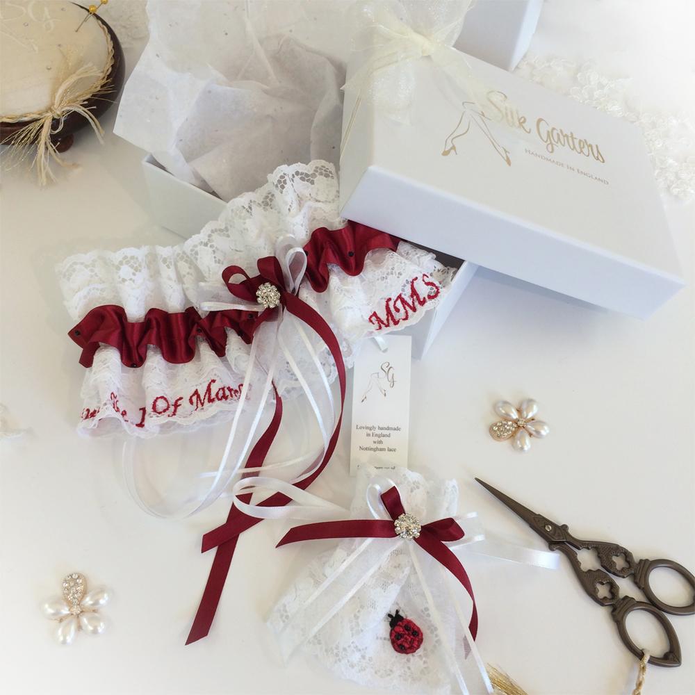 Unique Wedding Garter: Unique Wedding Garter And Hand Embroidered Ladybird