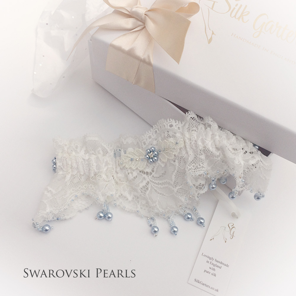 Unique wedding garter French lace and Swarovski crystal pearls
