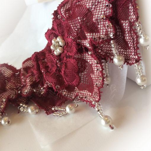 burgundy wedding garter