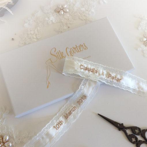 wedding garter personalised inside