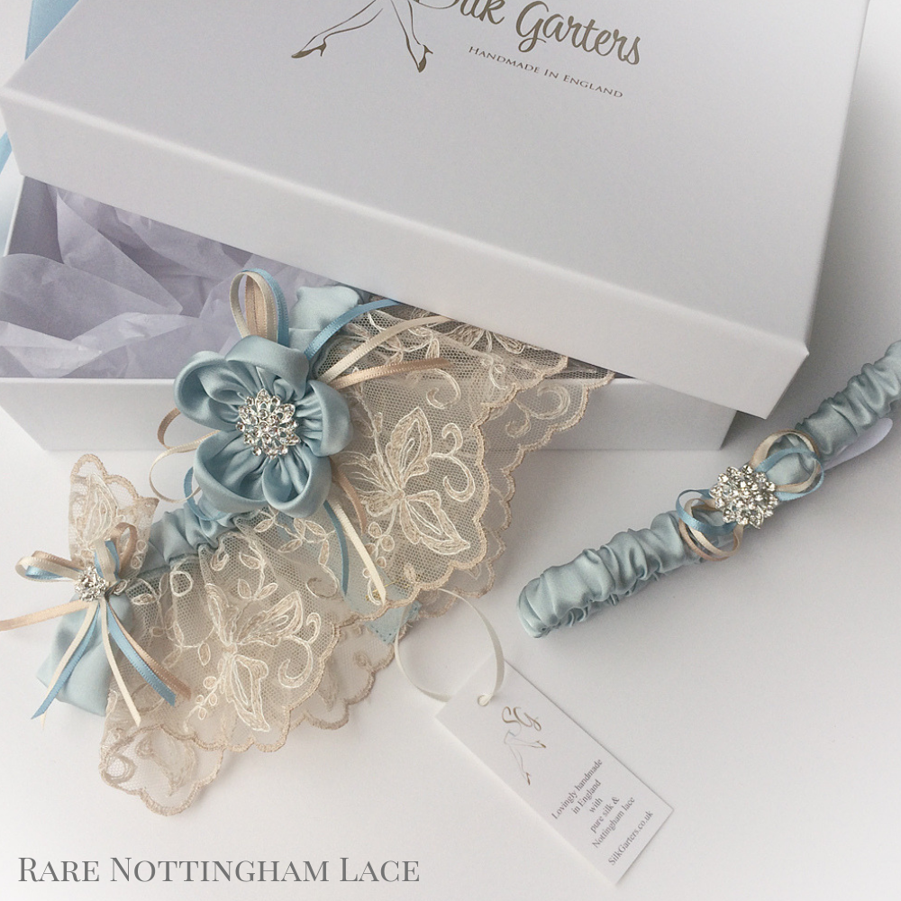 Wedding Garter Ayana Champagne Nottingham lace and blue silk